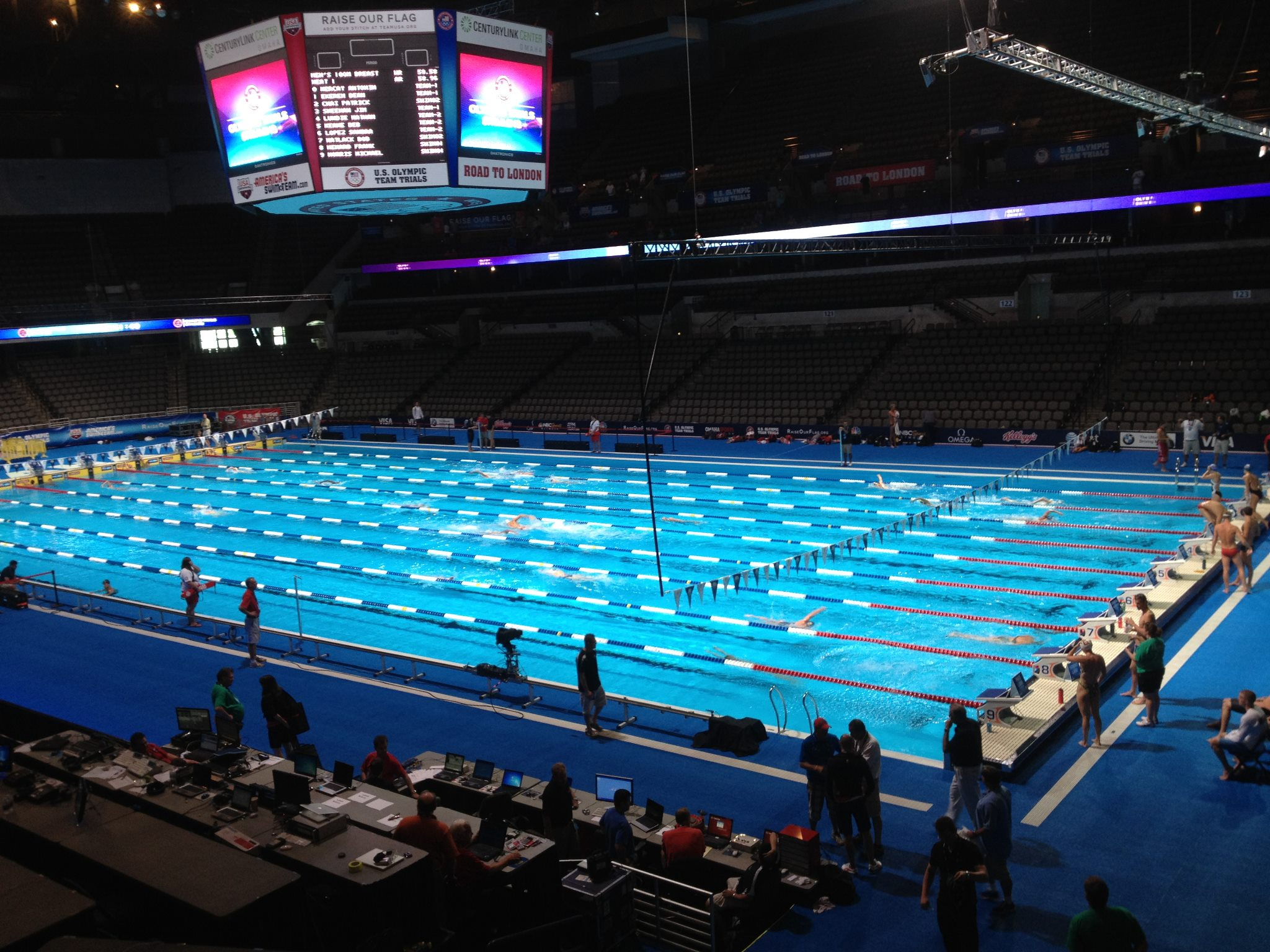 attitude specialty lighting 2012 olympic swimming time trials live sports using 50k softsun lights